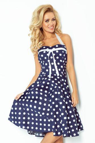 Täpiline kleit tumesinine