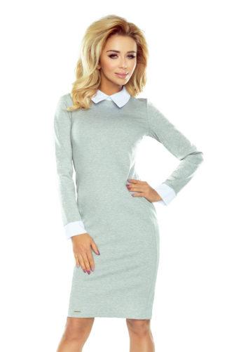 Valge kraega kleit helehall