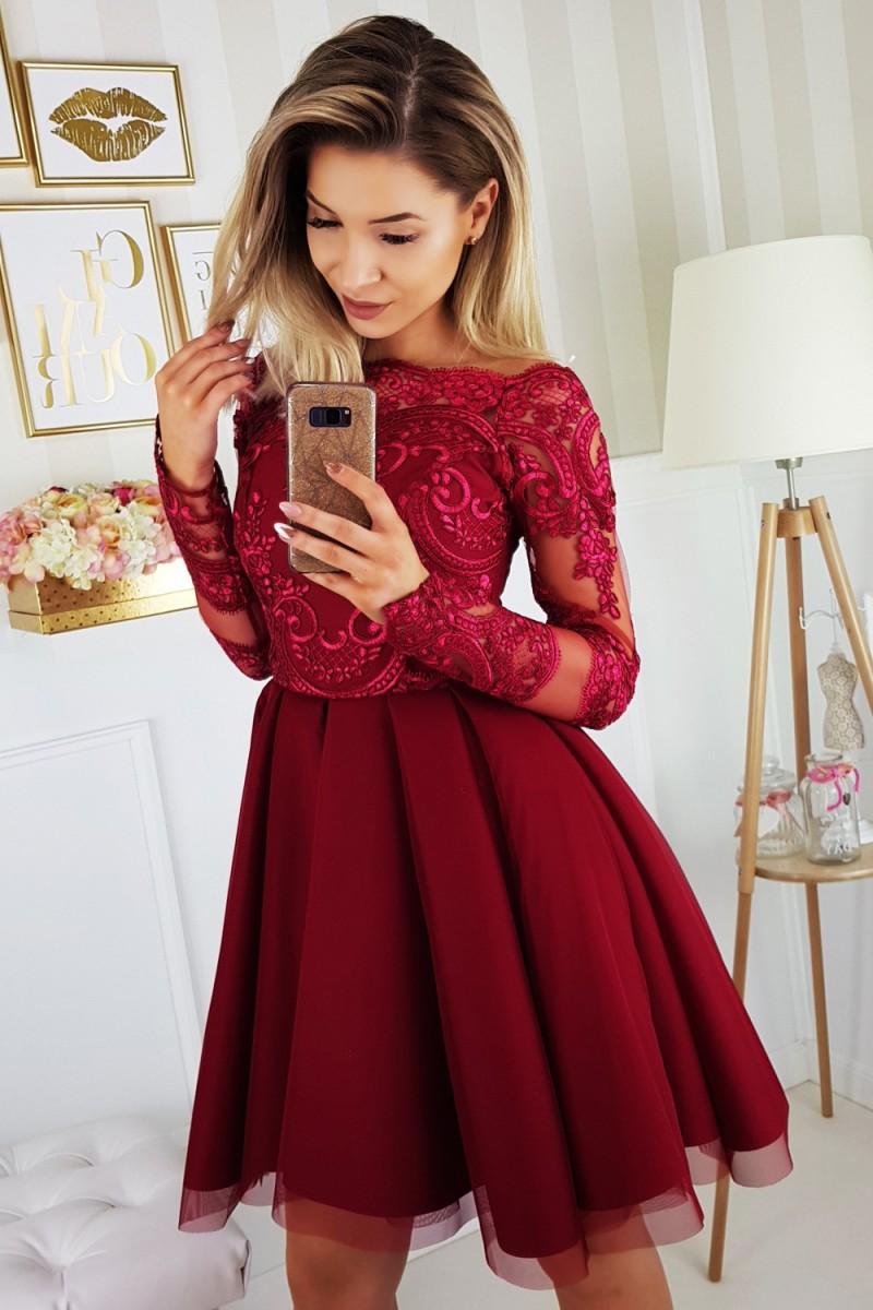 Pikkade varrukate pidulik kleit bordoopunane