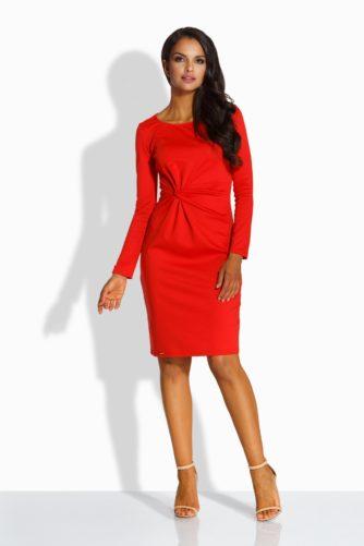 Pikkade varrukatega punane kleit