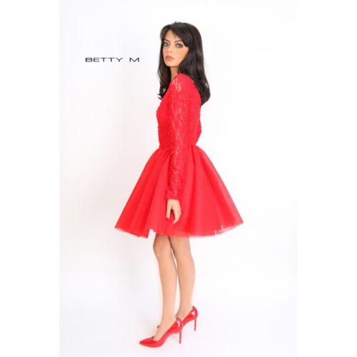 tülliga kleit punane