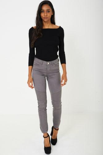 Hallid Biker-stiilis teksapüksid