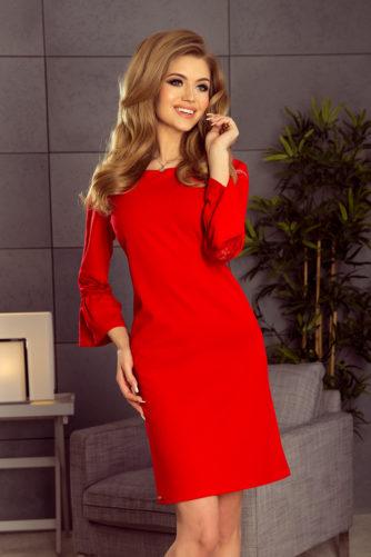 Alt laienevate varrukatega kleit punane