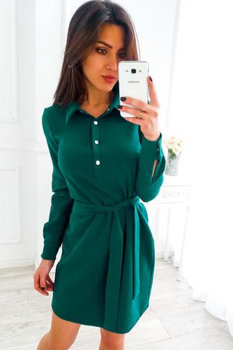 Särk-kleit vööga tumeroheline