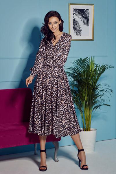 Midi-kleit leopardimustiga