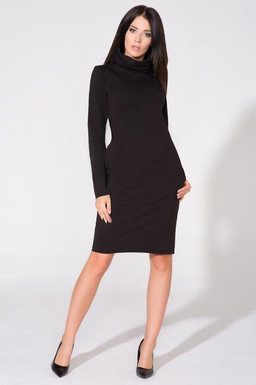 kõrge kraega kleit must