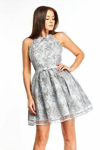 Pitsiga kaetud pidulik kleit hall