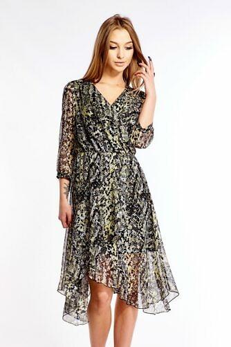 Ussimustriga õhuline kleit kirju