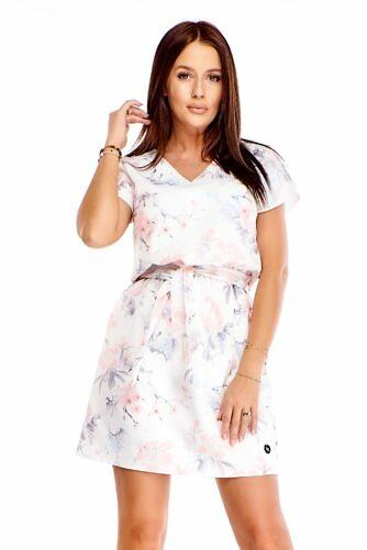 Pastelne lilleline kleit vööga