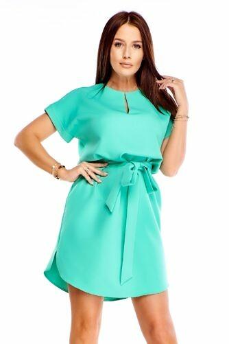 Piparmündiroheline kleit vööga