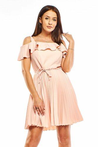 Plisseeritud kleit aprikoosi