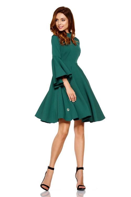 kellukese lõikeline kleit tumeroheline