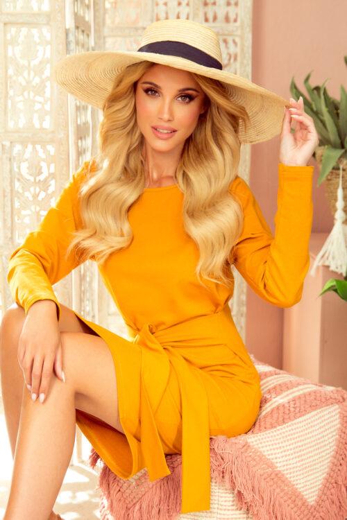 Sinepivärvi kleit laia vööga