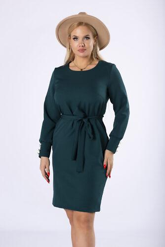 Tumeroheline vööga kleit (suured suurused)