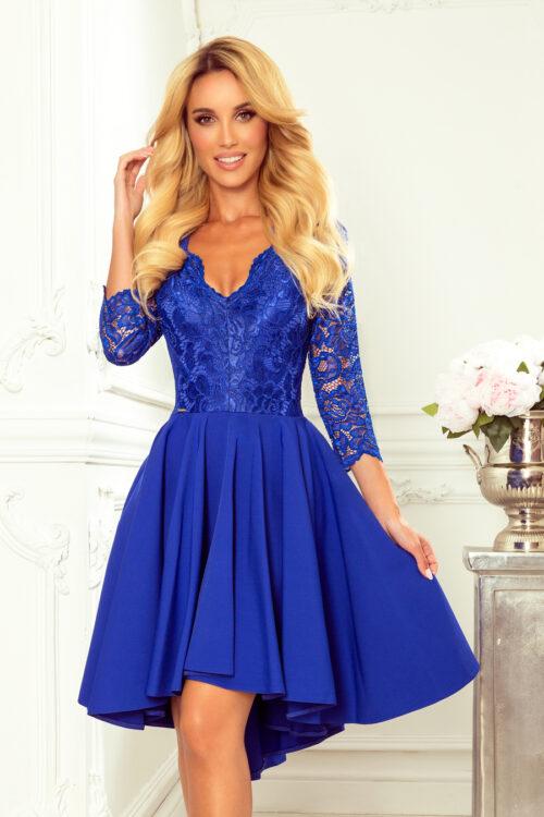 Tagant pikenev kleit pitsist ülaosaga sinine