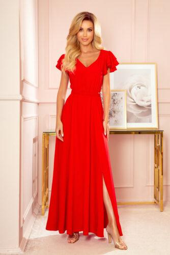 Pikk kleit V-kaelusega punane