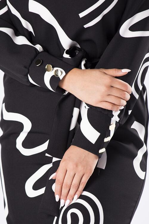 Must-valge kleit vööga (suured suurused)
