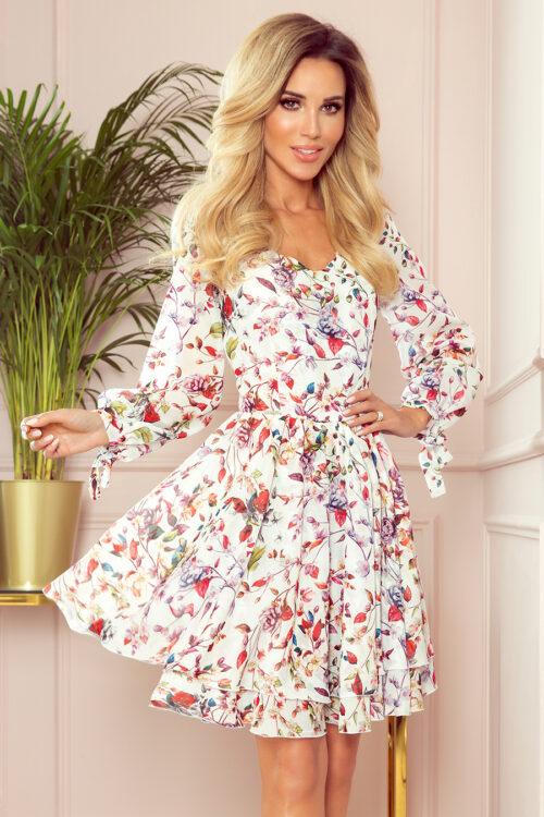 Topelt seelikuosaga kleit lilleline