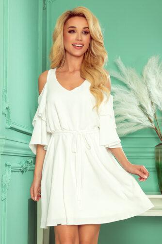 Avatud õlgadega valge kleit