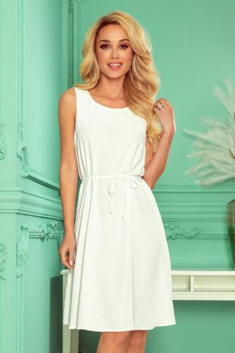 Lihtne valge kleit vööga