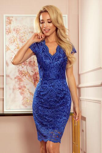 V-kaelusega pitsist kleit sinine