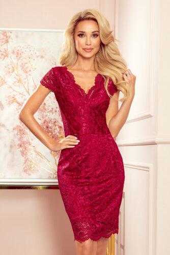 V-kaelusega pitsist kleit bordoopunane
