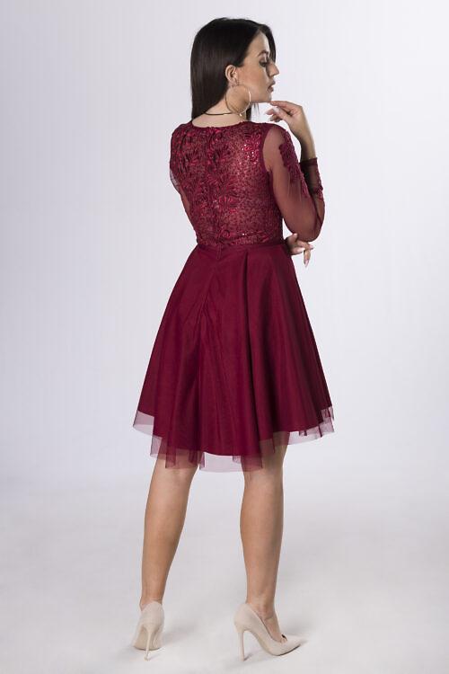 Tülliga kleit tumepunane