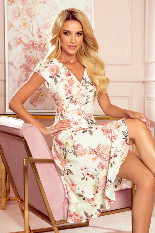 Wrap-lõikeline lilleline kleit