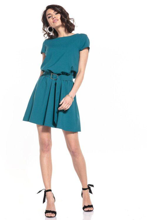 Avatud seljaosaga kleit petroolroheline