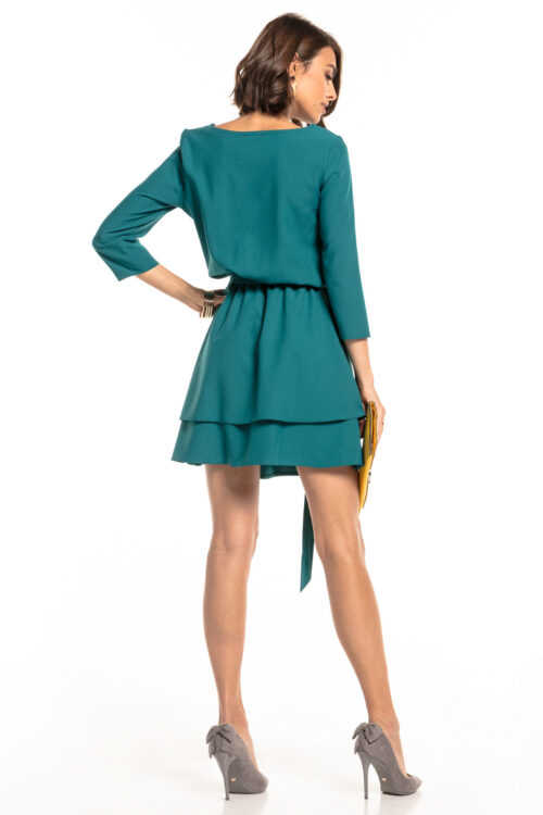 Topelt seelikuosaga kleit petroolroheline