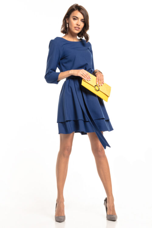 Topelt seelikuosaga kleit tumesinine