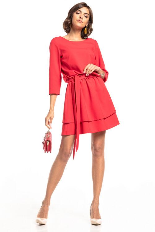 Topelt seelikuosaga kleit vaarikapunane